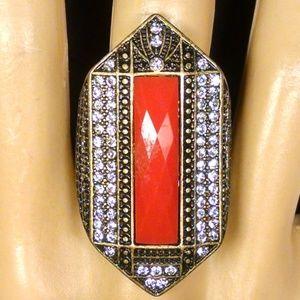 Vintage Antique Style Orange Rhinestones Ring